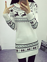 Women's Korea Style Print White / Gray Slim Pullover , Casual / Cute Long Sleeve