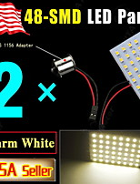 2X RV Trailer Warm White 48SMD Panel Map Dome Interior Light +1156 BA15S Adapter