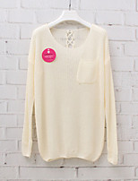 Women's Solid Blue / Pink / White / Khaki / Beige Pullover , Sexy / Casual Long Sleeve