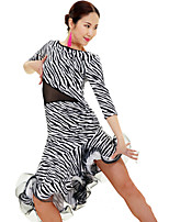 Latin Dance Dresses Women's Performance / Training Spandex Ruched / Animal Print 1 Piece Black / Royal Blue / Zebra