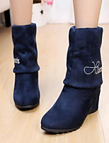 Women's Shoes Fabric Wedge Heel Drill Snow Boots Boots Casual Black / Blue