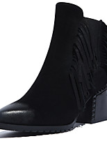Women's Shoes Leather Chunky Heel Fashion Boots / Round Toe Boots Dress / Casual Black
