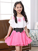 Girl's Pink / Red Dress , Ruffle Polyester Summer