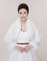Wedding Faux Fur Boleros Long Sleeve Fur Coats
