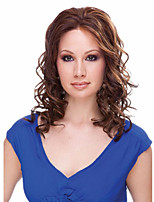 Europe and the United States Capless Long Curly Mix Color Synthetic Wig Side Bang