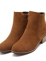 Zapatos de mujer - Tacón Bajo - Botas a la Moda - Botas - Exterior / Casual - Semicuero - Negro / Amarillo