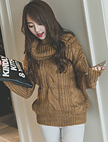Women's Solid Brown Pullover , Vintage Long Sleeve