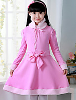 Girl's Pink Dress , Bow Cotton Blend Winter