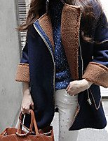 Women's Solid Navy Blue Coat , Casual / Plus Sizes Loose Fashion Peaked Lapel Fleece Lining Long Sleeve Suede / Fleece
