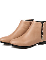 Women's Shoes Leatherette Low Heel Fashion Boots Boots Outdoor / Dress / Casual Black / Beige