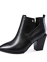 Women's Shoes Leather Chunky Heel Fashion Boots / Pointed Toe Boots Office & Career / Casual Black / Red