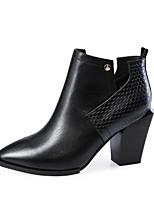 Calçados Femininos - Botas - Bico Fino / Botas da Moda - Salto Grosso - Preto / Vermelho - Couro - Escritório & Trabalho / Casual