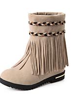 Chaussures Femme - Habillé / Décontracté - Noir / Marron / Rouge / Beige - Talon Compensé - Bout Arrondi / Bottes à la Mode - Bottes -