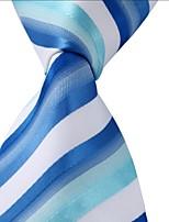 Men Leisure Jacquard Necktie Tie Blue White Green Stripes