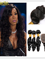 4 Pcs/Lot Brazilian Virgin Hair With Closure 3 Bundles With Closure 100% Human Hair Weave Brazilian Loose Wave