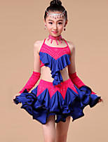 Kids' Dancewear Outfits Children's Performance / Training Milk Fiber Rhinestones / Ruffles 5 Pieces