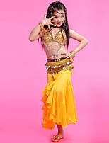 Belly Dance Outfits Children's Performance Chiffon Gold Coins 3 Pieces Fuchsia / Red / Yellow