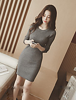 Women's Solid Black / Brown / Gray Dress , Vintage Long Sleeve