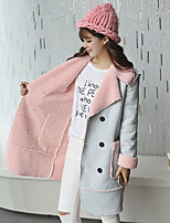 Women's Solid Blue / Pink / Yellow Coat , Casual Long Sleeve Suede / Fleece