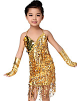 Latin Dance Outfits Children's Performance Sequined Paillettes / Tassel(s) 3 Pieces Gold / Green / Red / Silver