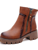 Women's Shoes Chunky Heel Bootie / Gladiator / Comfort / Round Toe Boots Casual Black / Brown / Gray
