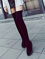 Women's Shoes Sexy Chunky Heel Round Toe Tigh-high  Boots Casual Black
