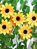 2.4 M Really Flower Decoration Flower Vine Flowers Simulation Polyester / Plastic Sunflowers Artificial Flowers 2PCS