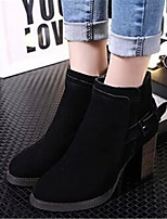 Women's Shoes Chunky Heel Pointed Toe Boots Casual Black / Khaki
