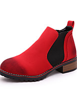 Women's Shoes Chunky Heel Bootie / Comfort / Round Toe Boots Casual Black / Red