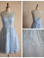 Knee-length Lace / Satin Bridesmaid Dress - Sky Blue A-line Scoop