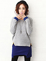 Women's Patchwork Gray Pullover , Sexy / Casual Long Sleeve