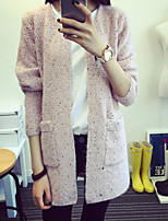 Women's Solid Pink / White / Gray Cardigan , Casual Long Sleeve