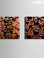 E-HOME® Stretched Canvas Art Leaf Decorative Painting Set of 2