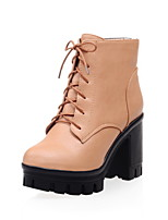 Women's Shoes Leatherette Chunky Heel Combat Boots Boots Casual Yellow / White / Gray
