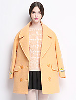 Women's Solid Green / Yellow Coat , Casual Long Sleeve Tweed / Wool / Others