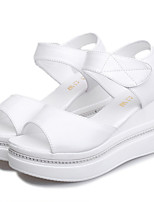 Women's Shoes Leatherette Platform Ankle Strap / Styles / Open Toe Sandals Outdoor / Casual Pink / White