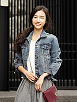 Women's Solid Blue Denim Jacket , Casual