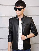 The new winter urban leather men's fashion Han edition cultivate one's morality locomotive coat
