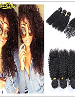 4 Pcs/Lot Afro Kinky Weaves With Lace Closure,100% Virgin Human Hair,Mongolian Afro Kinky Curly Hair With Closure