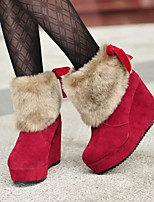 Women's Shoes Warm Thicken Frosted Wedge Heel Comfort Boots Casual Black / Brown / Red