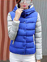 Women's Patchwork Blue / Red / White / Gray Parka Coat , Casual Hooded Long Sleeve