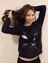 Women's Animal White / Black Pullover , Casual Long Sleeve