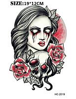 (1pcs) Halloween Skull Vs Blood Vs Rose Temporary Tattoo Waterproof Sexy Armband Tattoo Body Art Big Fake Tatoo Stickers