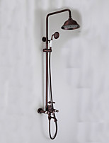 Oil-rubbed Bronze Wall Mounted Waterfall Rain + Handheld Shower Faucet