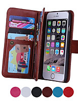 Magnet 2 in 1 Mappen-Leder + 9-Card-Inhaber + Cash-Slot + Fotorahmen Telefonkasten für Apple iPhone 6 plus / 6s Plus