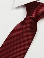 Red Square Pattern Men Polyester Yarn Arrow Type Tie Necktie