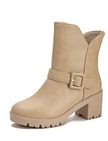 Women's Shoes Chunky Heel Fashion Boots / Comfort Boots Outdoor / Office & Career / Casual Black / Pink / White / Beige