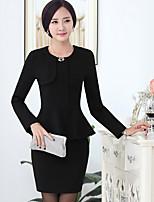 Women's Solid Black / Green / Yellow / Purple Blazer , Work Round Neck Long Sleeve