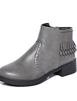 Zapatos de mujer - Tacón Plano - Punta Redonda - Botas - Oficina y Trabajo / Vestido / Casual / Fiesta y Noche - Semicuero - Negro / Gris