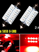 2X Pure Red 42MM 5050 8SMD Festoon Dome Map Interior LED Light bulbs 569 578